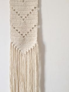 Crochet wall hanging made with organic cotton Diy Crochet Wall Hanging, Crochet Wall Art, Crochet Wall Hangings, Crochet Home Decor, Art Macramé, Art Mural, Boho Chic, Tapestry Weaving, Tapestry Wall