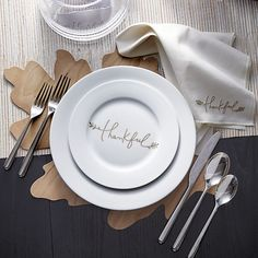 Thankful Napkin in Napkins | Crate and Barrel