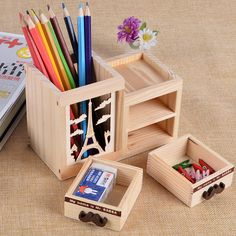 Aheli Wooden Desktop Letter Rack Mobile Display Stand Geometric Shaped Holder Storage Organizer with 2 Sections 9 X 4 inch