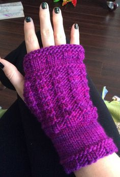 Free Knitting Pattern for Easy Waffle Stitch Fingerless Gloves - These textured fingerless mitts are knit flat and seamed and use up about 100 yards of worsted. Designed by Jill Toporkiewicz. Rated very easy by Ravelrers. Pictured project by MockingbirdK1P2
