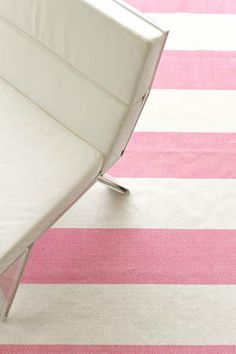 #DashAndAlbert Yacht Stripe Pink/White Woven Cotton -- I FOUND HER -- Living room Pink and White Strip Rug!