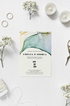 Alcohol ink invitation template for a modern wedding Amelia