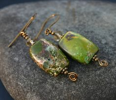 Green+Turquoise+Earrings+by+InspiredTheory+on+Etsy,+$17.00
