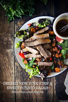 Grilled New York Strip and Sweet Potato Salad