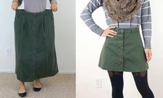 Take a big skirt from the thrift store ($3.99) and turn it into a cute button up a-line skirt! video here: https://www.youtube.com/watch?v=N88CKg6ZdLs