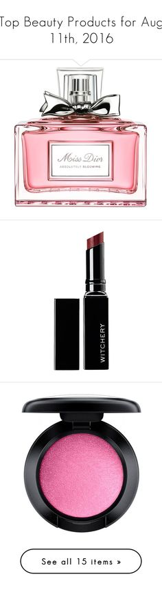 """""""Top Beauty Products for Aug 11th, 2016"""" by polyvore ❤ liked on Polyvore featuring beauty products, fragrance, flower perfume, christian dior perfume, christian dior fragrance, blossom perfume, flower fragrance, makeup, lip makeup and lipstick"""