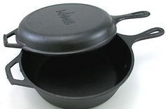 Logic Pre-Seasoned Combo Cooker BEST investment for cooking. The skillet duals as something to cook in and a cover for the pot to create a dutch oven cooking environment. Cast Iron Dutch Oven, Cast Iron Cooking, Things To Take Camping, Dutch Oven Camping, Skillet Pan, Seasoning Cast Iron, Lodge Cast Iron, Cast Iron Recipes