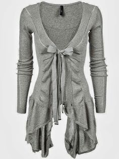 Adorable long light grey cardigan ladies sweater