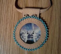 Handmade Howling Wolves Leather and Turquoise Seed by ElusiveWolf, $22.29