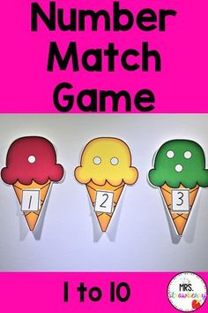 Practice matching numbers 1 - 10 with these cute ice cream cone cards. Print them and laminate them to use over and over in math centers. Students can also practice in small groups or independently. Practice number recognition, subitizing and counting in kindergarten.