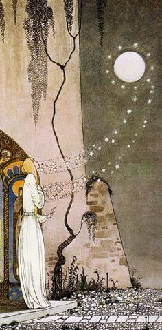 "A detail from ""Out Popped the Moon"" by Kay Nielsen (Danish, 1886-1957)."