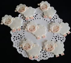 Baby Lambs Figurines all Handmade of Cold Porcelain these Lambs will add a perfect touch to your Cupcakes, Corsages, Favors ,Cakes and Centerpieces Decorations Excellent for Birthdays and Showers Even