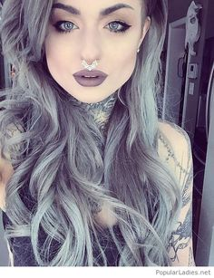 Grey hair, rock look