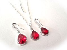Ruby red Necklace and Earring set  Teardrop by QueenMeJewelryLLC