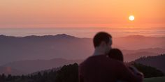 Romantic sunset engagement photo