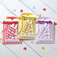 Valentine Treat Pouches by Michelle Leone for Papertrey Ink (December Valentine Treats, Valentines, Periwinkle, Pouches, Stamps, December, Packaging, Gift Wrapping, Day