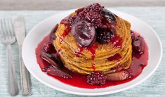 Ginger Pumpkin Pancakes.  These look amazing.  As does the plum and blackberry topping that goes with it.