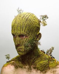 Dutch artist Levi Van Veluw uses his own face as a canvas to recreate landscape, surface and some even stranger installation or texture.