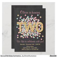 Second Birthday Invitation Girl Pink Gold Mint Two Girl 2nd Birthday, Pink Birthday, 2nd Birthday Invitations, Custom Invitations, Colored Envelopes, White Envelopes, Envelope Liners, Pink Girl, Pink And Gold