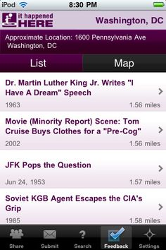 "DC travel ""It happened here"" app tells yo what happened in your location throughout history..."