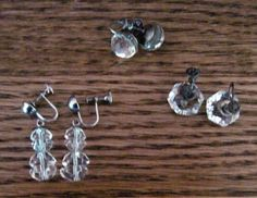 Sparkling Deco Crystal Sterling Earring Lot Cut Glass by EyeImpact