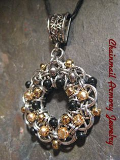 Pendant  - Helm's Weave Circle, Silver Chainmaille, black, gold, & gun metal beads - Pendant