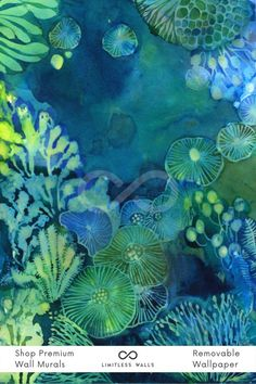 This beautiful dark blue underwater watercolor wallpaper design features jellyfish, shells, stones, algae and corals. Perfect for an atmospheric child's bedroom! | Limitless Walls - Premium Wall Murals Underwater Wallpaper, Underwater Painting, Underwater World, Sea Murals, Beach Wall Murals, World Map Wallpaper, Of Wallpaper, Wallpaper Designs, Watercolor Wallpaper