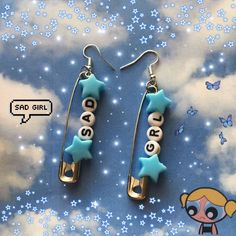 sad grl safety pin earrings handmade with love ships next day :) Weird Jewelry, Funky Jewelry, Cute Jewelry, Jewelry Crafts, Beaded Jewelry, Jewelry Accessories, Jewlery, Earrings Handmade, Handmade Jewelry
