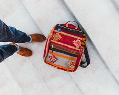 Kilim Backpack and Snuff Suede Loafers. #Fashion #Style