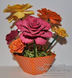 3d paper flowers in a paper flower pot
