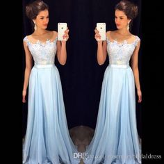 Sky Blue A Line Long Prom Dresses Lace Appliques Chiffon Sheer Neck Prom Evening Gown With Bra Elegant Women Dress 2016 Halter Top Prom Dresses Hi Low Prom Dresses From Rosemarybridaldress, $115.19| Dhgate.Com