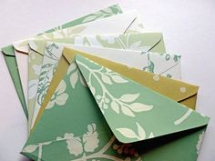 Shades of Green handmade envelopes from Little Miss Magpie!