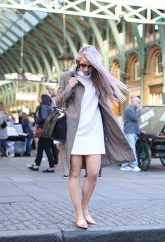 Inthefrow   Glamorous taupe trench coat, Monki ribbed white dress, Nicholas Kirkwood Gold Slipper Flats, Fendi 3jours handbag   Lilac Hair