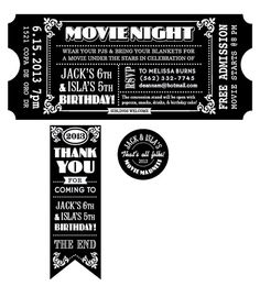 CUSTOMIZED Movie Ticket INVITATION PRINTABLE by deannamooredesign, $20.00