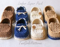 Crochet Pattern - Toddler Sizes Loafers Super Pattern Pack comes with all 4 variations - Includes USA Toddler Sizes 4,5,6,7,8,9 L