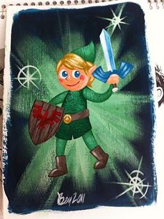 Zelda artwork by Benjamin Rumback. He has a fantastic blog that you should take some time to look at. Very talented, AND Nintendo and Harry Potter art galore!