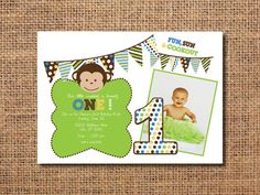 Printable Birthday Invitations For Boy ~ Boys first birthday invites st birthday monkey birthday