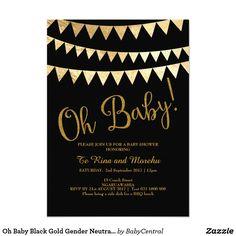Oh Baby Black Gold Gender Neutral Baby Shower Card