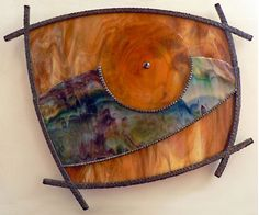 """Shown here: """"Harvest Moon"""" - Kokomo head & amber streaky glass built on two planes, amber rondel, glass element, decorative soldering front & sides. Stained Glass Designs, Stained Glass Projects, Stained Glass Patterns, Stained Glass Art, Mosaic Art, Mosaic Glass, Fused Glass, Glass Wall Art, My Glass"""