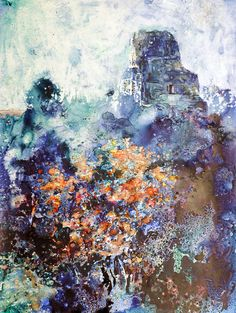 Watercolor painting of Mayan ruins at Tikal by RFoxWatercolors, $34.99