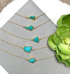 Raw Turquoise Necklace Freeform Turquoise 14k Gold Plate Minimalist Rustic Turquoise Pendant Choker 24k Boho Rough Cut Horizontal Turquoise
