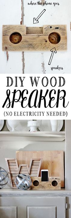 DIY Wood Speaker (No Electricity Needed) Easy DIY wood project! Make your own DIY speaker. All you need is wood and a little bit of creativity! I use mine outside and it really works! Carpentry Projects, Woodworking Projects That Sell, Diy Wood Projects, Wood Crafts, Wood Speaker, Diy Speakers, Woodworking Furniture Plans, Diy Woodworking, Diy Furniture