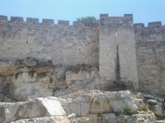 The walls of the Old City of Jerusalem near the Damascus gate.
