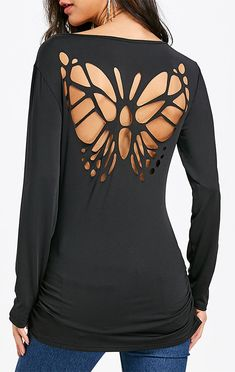 Charming long sleeve tee features criss-cross on the collar and hollow out butterfly shaped cutting on the back, soft and elastic fabric, slim fit silhouette.Long Sleeve T-shirt