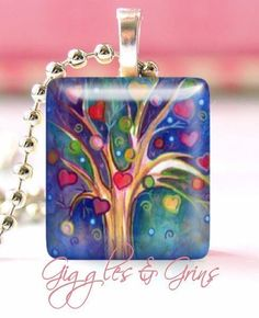 Glass Tile Pendant Necklace With Free Chain