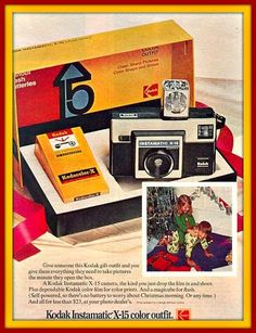 The Kodak Instamatic Camera requires no batteries, no focusing or other setting. It offers instant, effortless picture taking by sunlight or with the new four bulb, sell-powered Magicube, Type X. Old Cameras, Vintage Cameras, Camera Photography, Vintage Photography, Pub Vintage, Vintage Tools, Vintage Stuff, Instamatic Camera, Old Advertisements