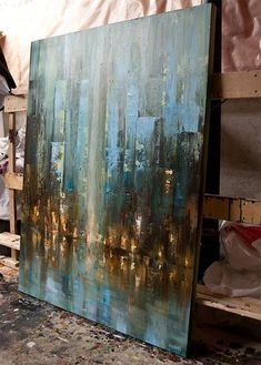 ORIGINAL Abstract City Painting Modern Acrylic by OsnatFineArt