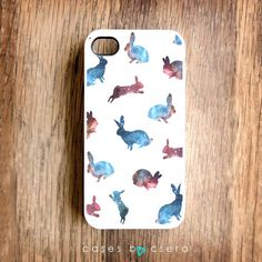Galaxy Print Rabbits - iPhone Case, iPhone 4 Case, iPhone Cover Rabbit iPhone Case iPhone 4S Case Galaxy iPhone 4 Case. $24.99, via Etsy.