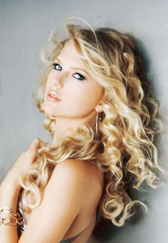Taylor Swift #beautiful eyes #pink lips #curly blond hair