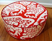 Items similar to floor pouf Duralee floor cushion modern and unique floor chic floor pillow red and white ottoman on Etsy Flooring For Stairs, Modern Flooring, Unique Flooring, Bedroom Flooring, Stone Flooring, White Flooring, Ceramic Flooring, Terrazzo Flooring, Cork Flooring